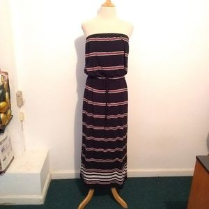 J.Crew  Navy Striped Strapless Maxi Dress